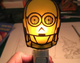 Robot Nightlight C-3PO Hand painted Kiln fired AWESOME