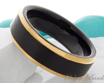 Tungsten Ring Yellow Gold Black Two Tone Wedding Band Tungsten Carbide 7mm Mens Womens Tungsten Wedding Band Anniversary Ring Promise Ring