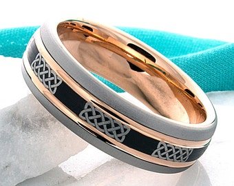 Tungsten Wedding Band,7mm,Tri Color,Celtic Knot,Promise Ring,Tungsten Anniversary Ring,Engagement,His,Hers,Matching Ring Set,Comfort Fit
