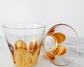 Pair of Midcentury Modern Tumbler or Rocks Glasses with Gilded Leaves, 9 oz