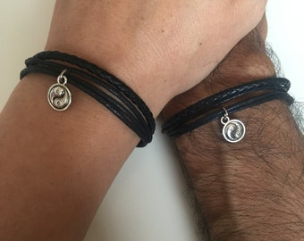 Ying yan couples Bracelets 308- friendship love ying yan bracelet leather braid gift adjustable current boyfriend girlfriend