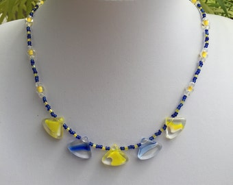 Hand Crafted Blue and Yellow Beaded Necklace.