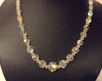 Vintage crystal aurora borealis 1950's necklace