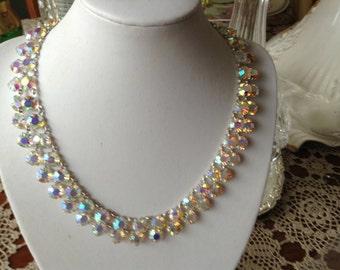Vintage aurora borealis crystal two strand 1950's Swarovski necklace