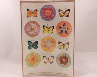 1981 Current, Inc. Butterfly and Flower Stickers. 2 Sealed Sheets