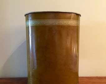 Brown Waste Basket / Metal Trashcan / Vintage Wastebin / Powder Room / Masculine Trash Can / Oval