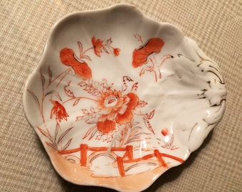 Vintage Scallop Dish with Orange Accents