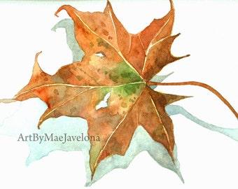 "Little Brown Maple Leaf, Original Watercolor Illustration, 4""X6"""