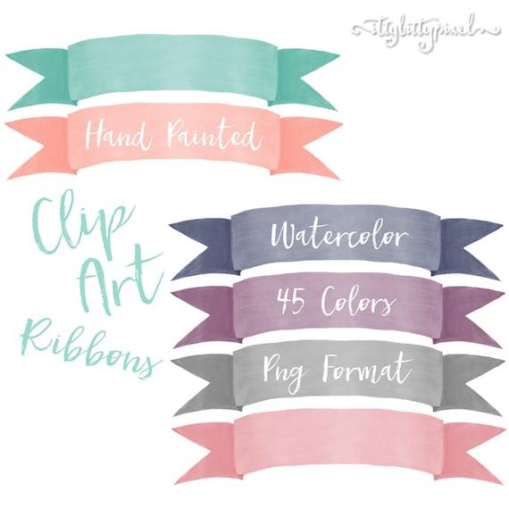 Watercolor Ribbon Clip Art Hand Painted Banner Digital