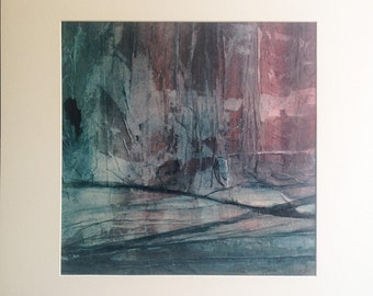 Reeds 2, original painting, abstract landscape, ink and collage on canvas