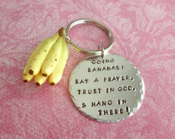 Encouragement Gift Christian Jewelry Christian Gifts Banana Key Chain Polymer Clay Hand Stamped Jewelry
