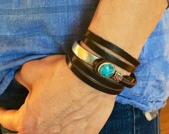 Ladies leather wrap, leather wraps, wrap bracelet, Joanna Gaines jewelry, leather bracelet, leather bracelets, leather and turquoise bracele