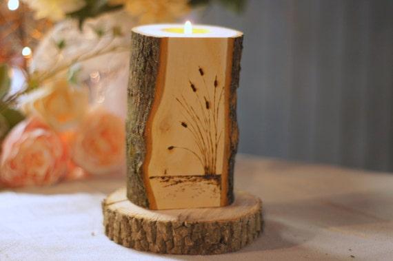 Burned log candle holder rustic home decor primitive