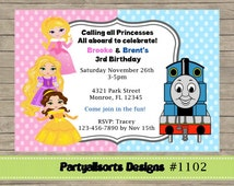 DIY - Princess and Thomas/Train/Joint Childrens Party Invitations