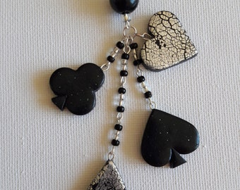 Black and Silver Card Suit Trinket Necklace