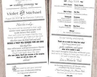 Black And White Wedding Program, Modern Wedding Program, Fun Program, Tea Length Program, Printable Wedding Program, Ceremony Program