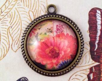 Vintage Flower Botanical Pendant