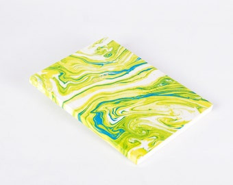 Water Marbled Modern Notebook Journal Lime Green