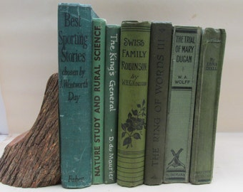 Green Leaves ~Set of Vintage Green Tones Decorative Books - Instant Library - Old Book Collection