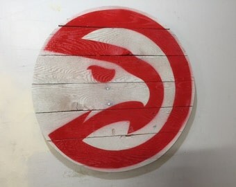 Atlanta Hawks Basketball Rustic Wooden Logo