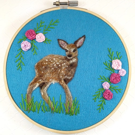 Deer art deer hoop art fawn deer nursery wool painting for What kind of paint to use on kitchen cabinets for embroidery hoop wall art