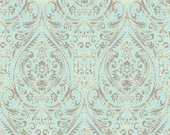 A Street Prints Gypsy Turquoise Damask Wallpaper SZ001866  - Sold by the Yard