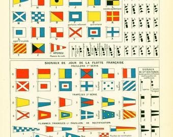 1897 Navigation International code, Large size antique print, Sailing signals, Larousse french antique, framing scrapbooking, Navy wall art