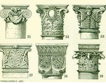 1897 Capitals Architecture Doric Order Roman column Antique Print Larousse 115 YEARS OLD