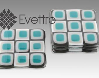 Aqua Retro Squares Fused Glass Coasters, Set of 4