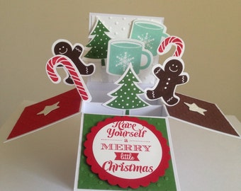 Handmade Christmas card in a box, 3d Gingerbread Man Card, First Christmas Card, Fun Christmas pop up card