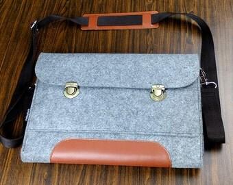 Felt Handbag for Women Shoulder Bag Adjustable Strap Bag Macbook Hard Case Handbag purses Messenger bag leather 6B537