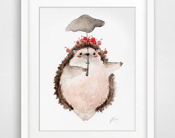 Totoro Pose illustration Series - Hedgehog (Fine Art Print)