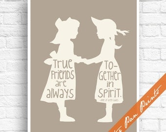 True Friends are Always Together in Spirit - Anne of Green Gables Inspired Art Print (Unframed) (featured in Soft Cream on Magnolia)