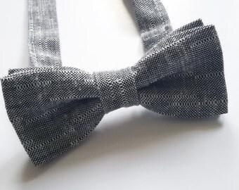 Grey Bowtie, Mens Bow Tie, Boys Double Bow tie, Pre-tied bow tie