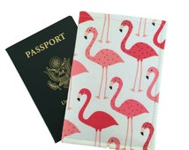 Flamingo passport cover, pink flamingos, bird passport holders, cute travel wallet, tropical holiday accessory, fun passport cover pouch