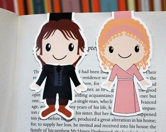 Set of Marianne Dashwood and Colonel Christopher Brandon Magnetic Bookmarks | Sense and Sensibility by Jane Austen