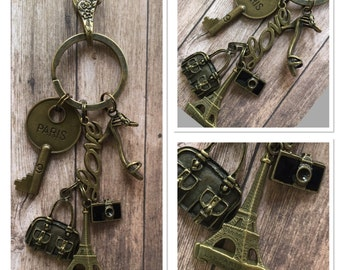 Vintage Style Antique Alloy Metal Bronze Eiffel Tower French Paris Keyring Keychain... 16cm In Length