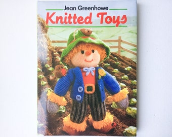 Vintage Knitted Toys Book by Jean Greenhowe, Over 50 Toy Patterns, Hardback with Dust Jacket, Hamlyn 1986, 00463