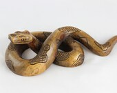 Hand Carved wood snake - Wooden Snake - Sono Wood snake carving - Spirit Animal sculptor - Carved spirit animal - wood serpent