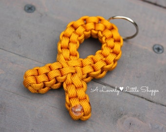 NEW AND IMPROVED! Gold Awareness Ribbon Paracord Keychain - Childhood Cancer Awareness - Support Ribbon - Gold Ribbon