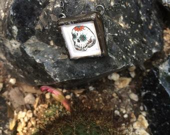 Soldered Glass Pendant with Mini Intaglio Print of a Sugar Skull