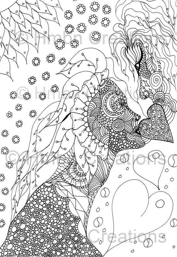 surrealism coloring pages | Adult Colour Page Surreal Fantasy Art by HmbnArtandCreations