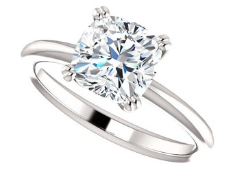 1.70ct Forever Brilliant Moissanite Engagement Ring - Cushion Cut Solitaire Engagement Ring - 14k White Gold