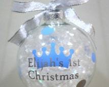 Personalized Custom Glass Christmas Ornament for Baby Boy or Girl First Christmas, Niece, Nephew, Godchild, Present, Gift, Christmas Tree