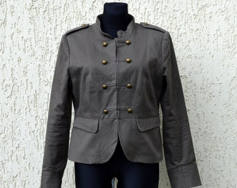 Womens Fitted Military Jacket Olive Green Khaki  Vintage ARMY Style Women's Military Blazer Metal Buttons Size Large