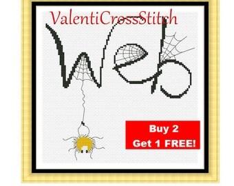 Modern Cross Stitch Pattern-Web-Spider's web- Spider- Cross Stitch-Patterns-Pattern-PDF
