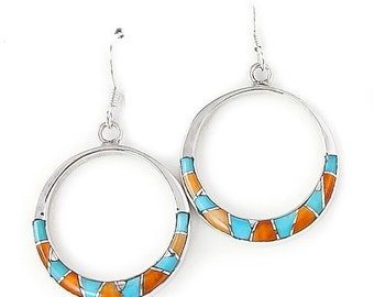 SAVE 15% Turquoise Spiny Oyster Silver Inlay Dangle Earrings