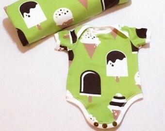 Newborn Boy Onesie, Baby Girl Onesie, Organic Baby Onesie, Green Baby Onesie, Ice cream Onesie, Green Baby Clothes, baby clothes sale