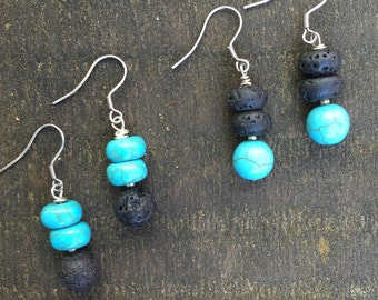 24.  LAVA + turquoise • aromatherapy• earrings
