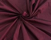 "Burgundy red 100% dupioni silk fabric yardage By the Yard 120cm 45"" wide raw silk Soie Sauvage Bordeux wine color"